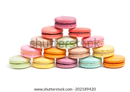 Colorful macaroons cake isolated on white background - stock photo
