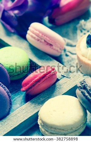 Colorful macaroons close up/toned photo