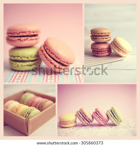 Colorful macaroons collage