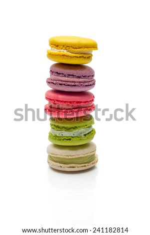 Colorful macaroons collection set of isolation on a white background - stock photo