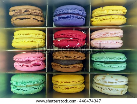 Colorful macaroons in a display box