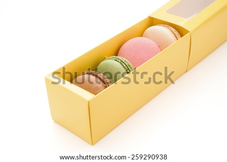 colorful macaroons in box with clipping path - stock photo