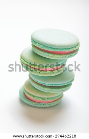 Colorful macaroons isolation on a white background - stock photo