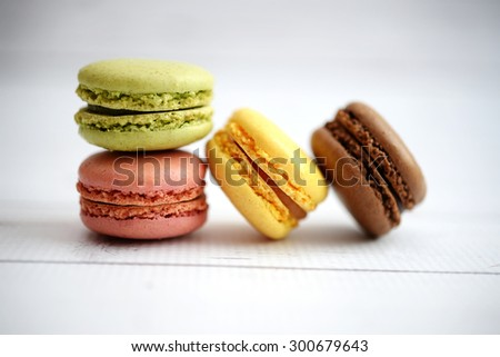 Colorful macaroons on white