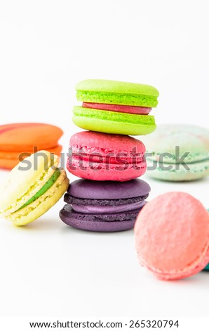 Colorful macaroons on white background. Macaroon is sweet dessert