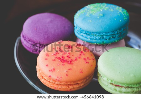 Colorful macaroons,vintage stylized photo