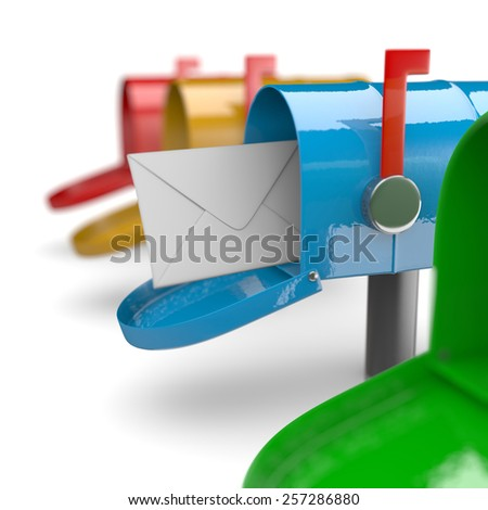 Colorful Mail Boxes on White Background 3D Illustration - stock photo
