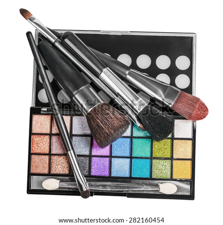 Colorful make-up and cosmetics isolated on a white background  - stock photo