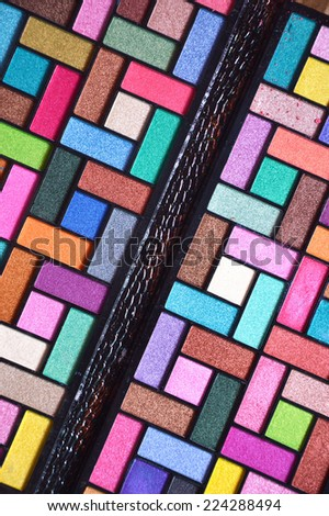 colorful makeup pallets package - stock photo