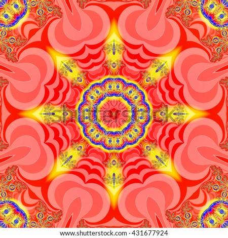 Colorful mandala effect fractal image - stock photo