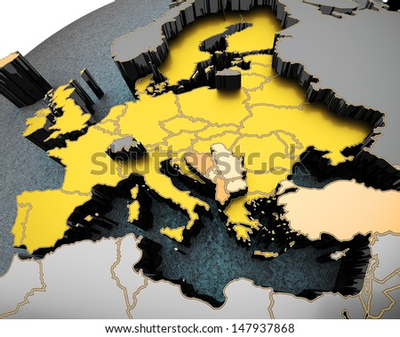colorful map of europe arched on sphere. 3d render - stock photo