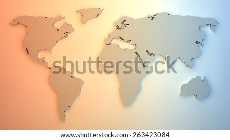 Colorful map of the world. Computer graphics made. Illustration. High definition. - stock photo