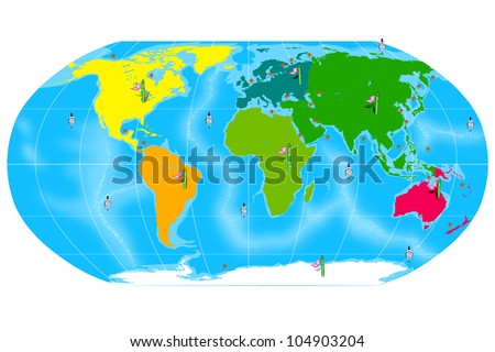 Colorful Map of the World with Continent Location banners and Ocean Markers. Isolated on White Background. - stock photo
