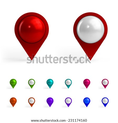 Colorful Map Tags - stock photo