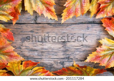 Colorful Maple Leaves Building a Heart Frame on Wood with Copy Space for Your Text - stock photo
