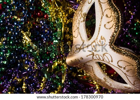 Colorful Mardi Gras Mask with beaded background - stock photo
