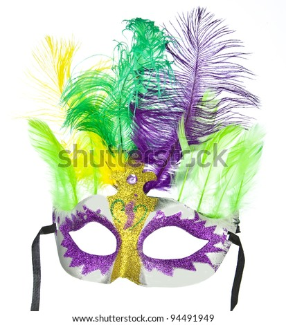 Colorful Mardi Gras mask with feathers isolated on white