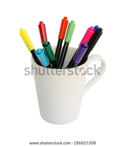 colorful marker pens on a white cup. - stock photo