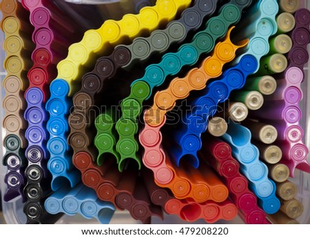 colorful markers,objects,school,education,abstract,colorful background,