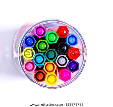 Colorful markers pens isolated.top view - stock photo