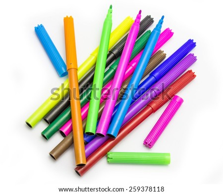 Colorful markers pens Multicolored Felt Pens draw line - stock photo