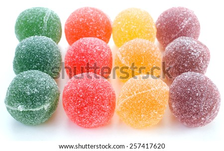 Colorful marmalade on white background