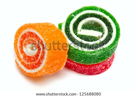 colorful marmelade isolated on white background - stock photo