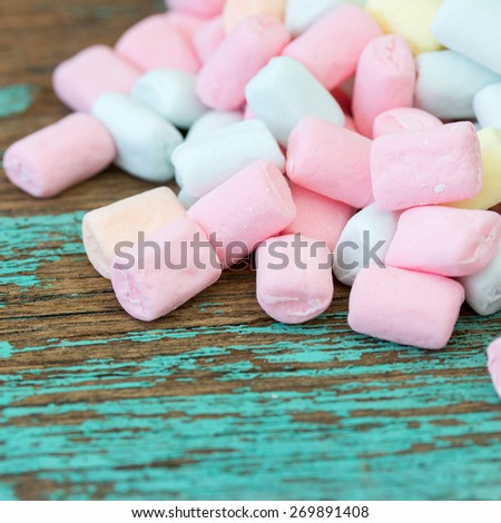 Colorful marshmallow on wooden. - stock photo
