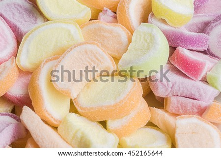 Colorful Marshmallows with jelly background - stock photo