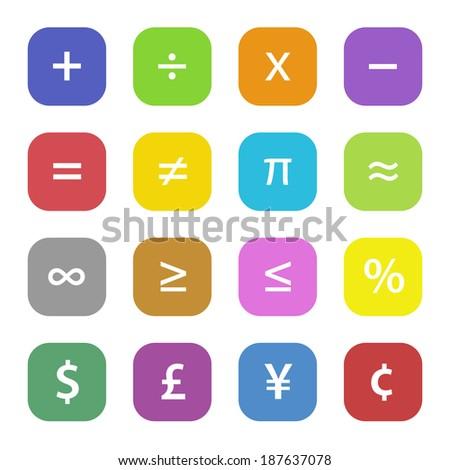 Colorful math financial symbols set - stock photo