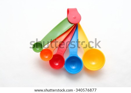 colorful measuring spoons on white background