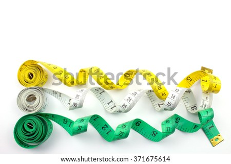 Colorful Measuring Tapes Isolated on White.