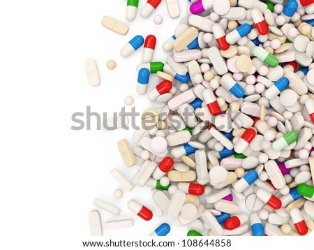 Colorful Medical Pills isolated on white background with place for your text - stock photo