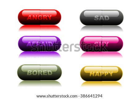 Colorful medical pills on white background, representative of feelings and emotions - stock photo
