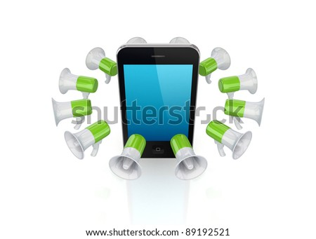 Colorful megaphones around modern mobile phone.Isolated on white background.3d rendered.