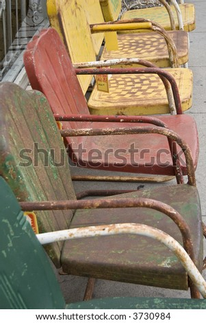 colorful metal chairs
