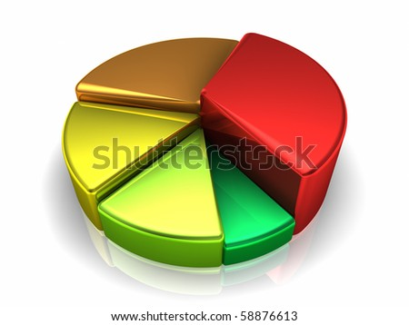 Colorful metallic pie chart on white background