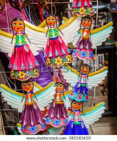 Colorful Mexican Angel Souvenirs Christmas Decorations San Miguel de Allende Mexico - stock photo
