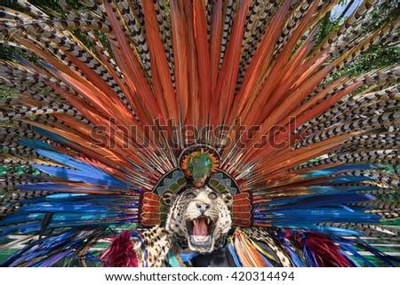 colorful Mexican indigenous headdress closeup  in San Miguel de Allende - stock photo
