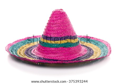 Colorful mexican sombrero on a white background. - stock photo