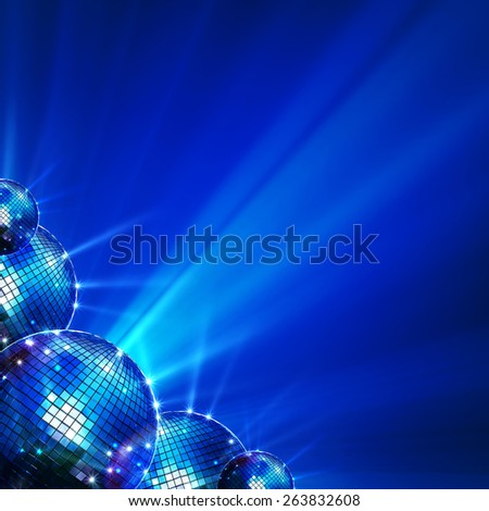 Colorful mirror disco balls with rays images - stock photo
