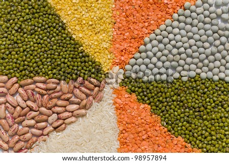 Colorful mix from different beans, legumes, peas, lentils - stock photo