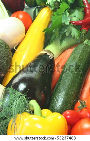 Colorful mix of many different fresh vegetables - stock photo
