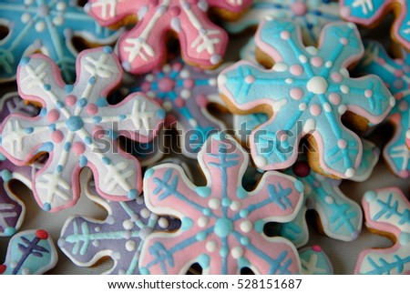 Colorful Mix of Snowflake cookies, Christmas star cakes ,