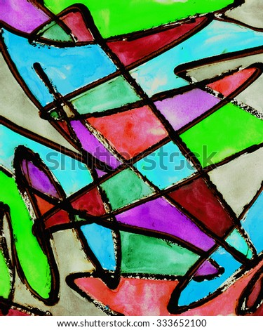 colorful modern abstract striped painting mixed technique background  - stock photo