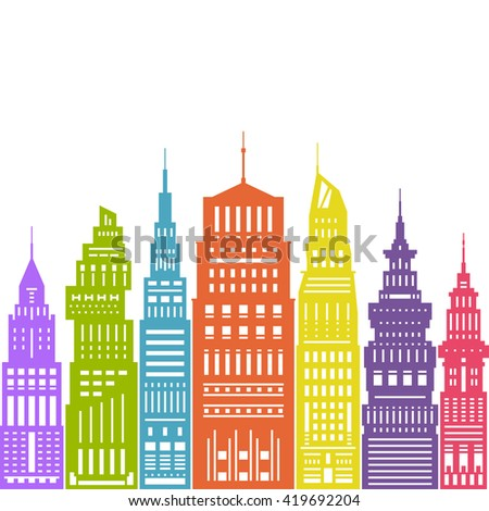 Colorful Modern Big City with Buildings and Skyscraper, Architecture Megapolis, City Financial Center , Flat Design, Architecture Concept,  Real Estate  - stock photo