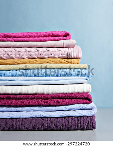 colorful modern blankets  close up - stock photo