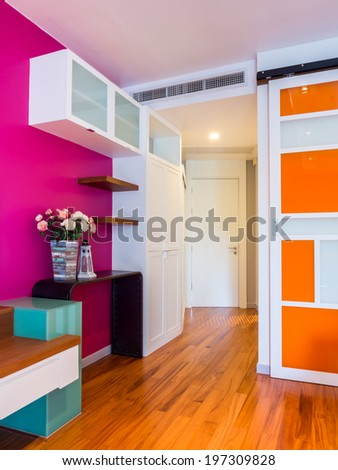 Colorful modern interior room decorated with vintage ornament - stock photo