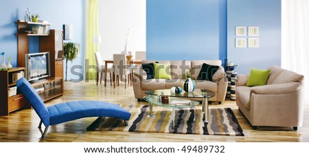 colorful modern living room - stock photo