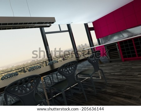 Colorful modern open plan kitchen and dining room with bright magenta cabinets and a stylish modern dining suite in front of panoramic view windows, tilted perspective - stock photo